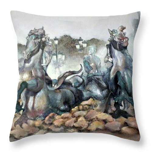 Font Throw Pillow featuring the painting Font Girondins by Tomas Castano