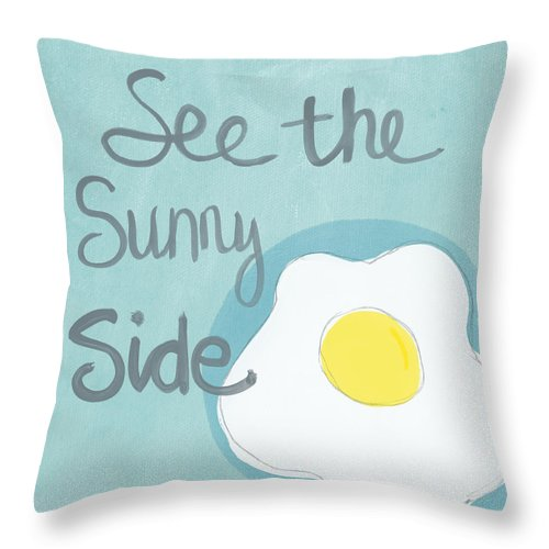 Egg Throw Pillow featuring the painting Food- Kitchen Art- Eggs- Sunny Side Up by Linda Woods