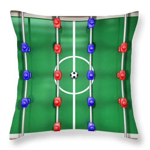 Foosball Throw Pillow Featuring The Digital Art Foosball Table Top View By  Allan Swart