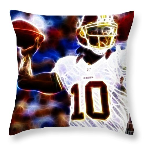 Rg3 Throw Pillow featuring the photograph Football - Rg3 - Robert Griffin IIi by Paul Ward