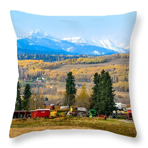 Alpine Throw Pillow featuring the photograph Foothills' Farming Country by Nicole Couture-Lord