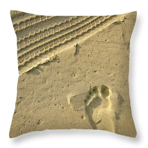 Tire Track Throw Pillow featuring the photograph Footprint In The Sand by Doug Dailey