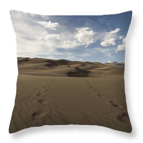 Landscapes Throw Pillow featuring the photograph Footprints In The Sand by Amber Kresge