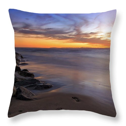 Ocean Throw Pillow featuring the photograph Footprints In The Sand by Doug Dailey