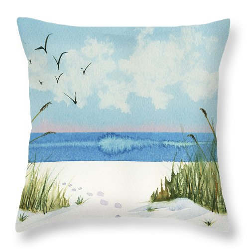 Nature Throw Pillow featuring the painting Footprints On The Beach by Nan Wright