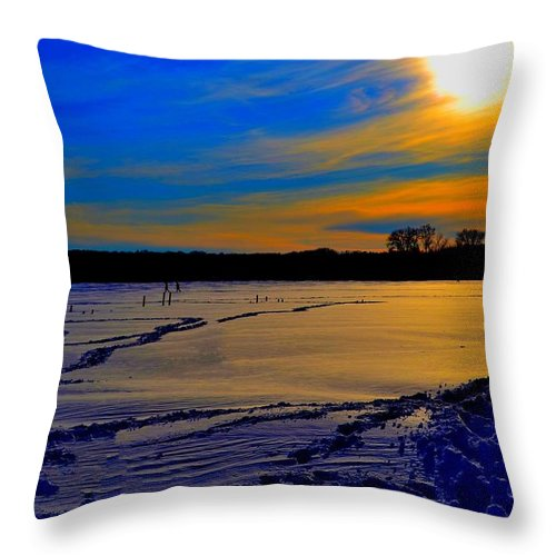 Winter Throw Pillow featuring the photograph Footsteps On Lake by Zafer Gurel