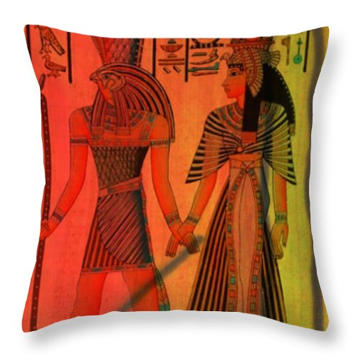 Ancient Reflections Throw Pillow featuring the mixed media For A Walk by Wendie Busig-Kohn