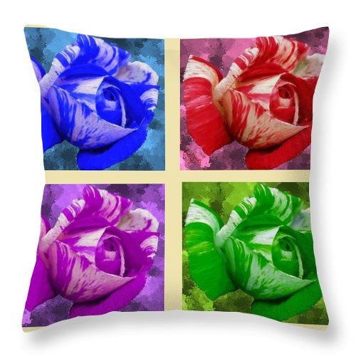 Red Throw Pillow featuring the painting For Beautiful Roses by Bruce Nutting