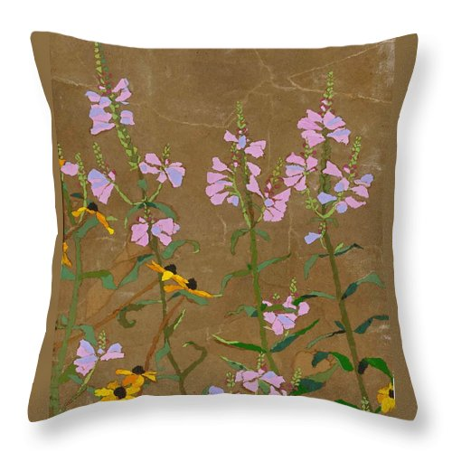 Floral Throw Pillow featuring the painting For Jack From Woodstock by Leah Tomaino