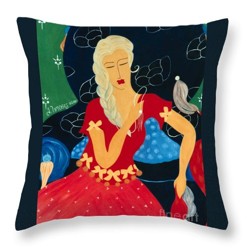 #female Throw Pillow featuring the painting For Savana by Jacquelinemari