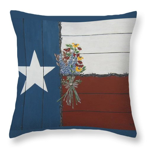Texas Throw Pillow featuring the painting For The Love Of Texas by Suzanne Theis