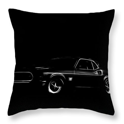 Ford Mustang Car Oldtimer Digital Painting Black White Expressionism Impressionism Motor Sport Sports Throw Pillow featuring the digital art Ford Mustang by Steve K