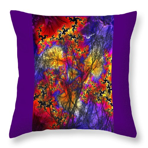 Forest Fire Throw Pillow featuring the digital art Forest Fire by Lisa Yount