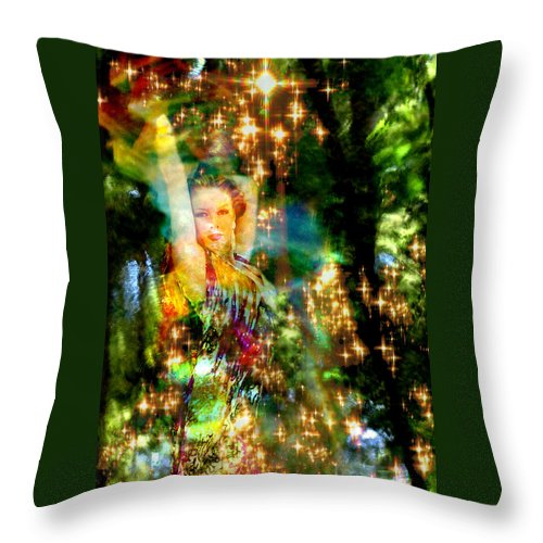 Forest Throw Pillow featuring the digital art Forest Goddess 4 by Lisa Yount