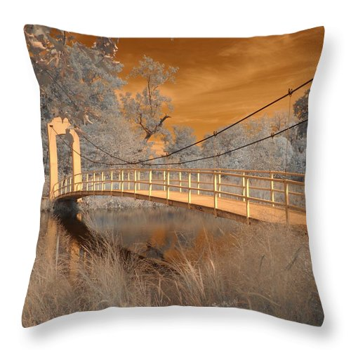 Forest Park Throw Pillow featuring the photograph Forest Park Bridge Infrared by Jane Linders