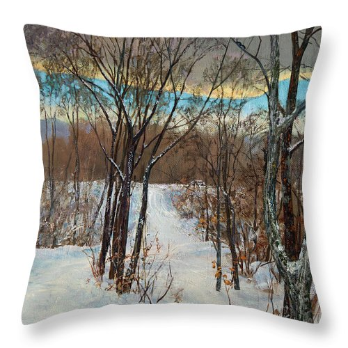 Forest Throw Pillow featuring the painting Forest Proteins by Galina Gladkaya