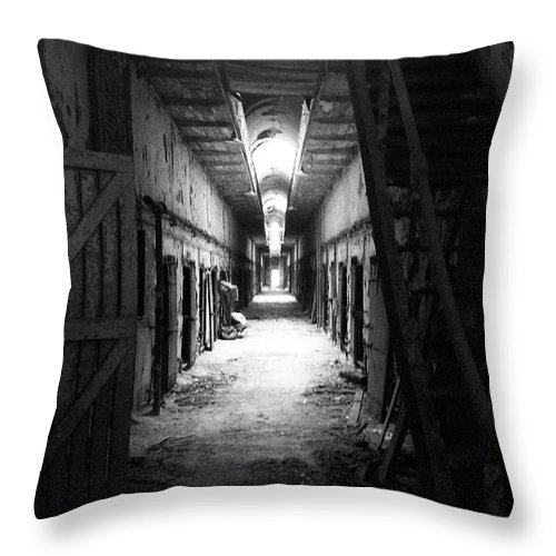 Eastern State Penitentary Throw Pillow featuring the photograph Forever Bound by Jennifer Hickey