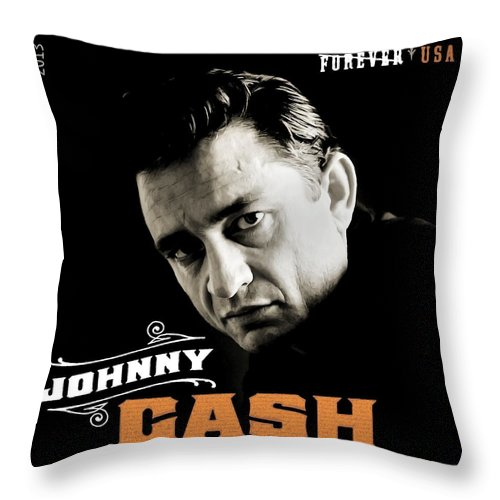 Johnny Cash Throw Pillow featuring the digital art Forever Johnny Cash Stamp 2013 by Jerry Gose Jr