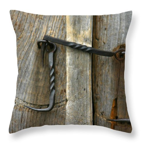 Forged Locks Throw Pillow featuring the photograph Forged Locks by Denyse Duhaime