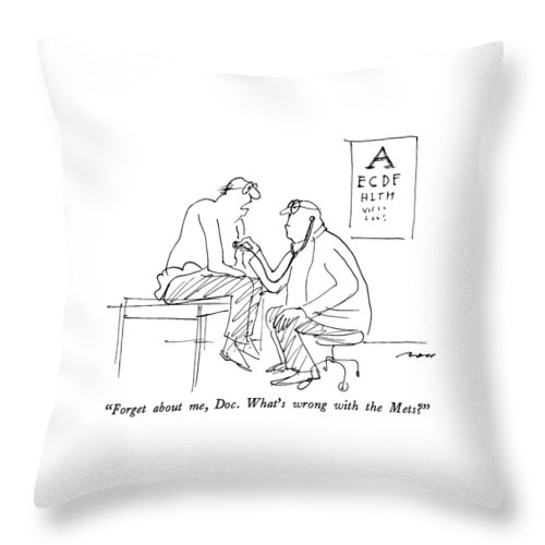 Man In Doctor's Office.  Sports Throw Pillow featuring the drawing Forget by Al Ross