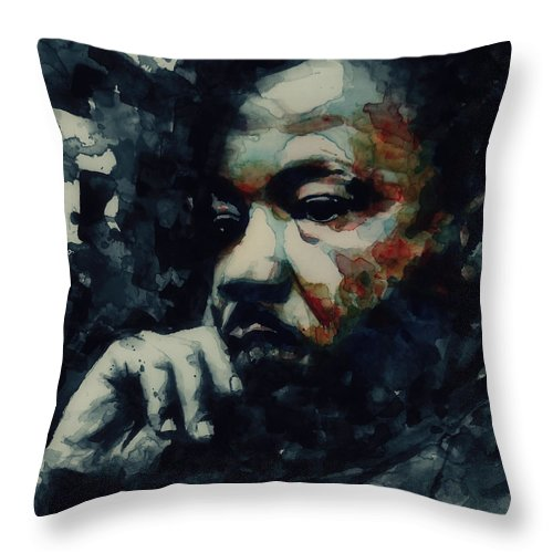 Martin Luther King Jr Throw Pillow featuring the painting Martin Luther King -Forgiveness Is Not An Occasional Act It Is A Constant Attitude by Paul Lovering