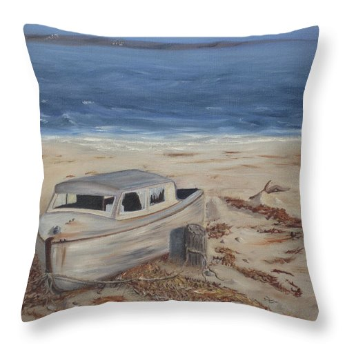 Boat Throw Pillow featuring the painting Forgotten by Barbara McDevitt