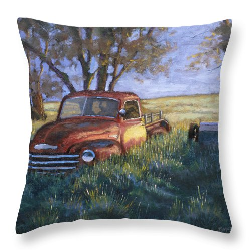 Pickup Truck Throw Pillow featuring the painting Forgotten But Still Good by Jerry McElroy
