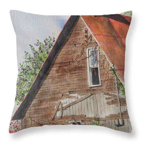 Farm Throw Pillow featuring the painting Forgotten Dreams Of Old by Mary Ellen Mueller Legault