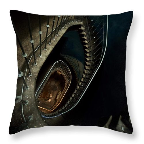 Staircase Throw Pillow featuring the photograph Forgotten by Jaroslaw Blaminsky