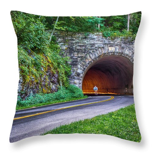 Blue Ridge Parkway Throw Pillow featuring the photograph Fork Mountain Tunnel by John Haldane