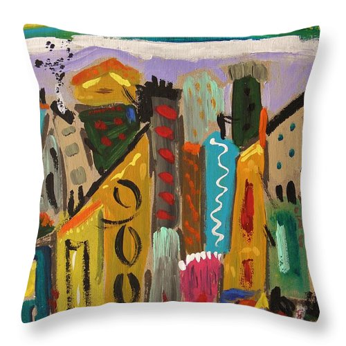 Forsythia Sky Throw Pillow featuring the painting Forsythia Sky by Mary Carol Williams
