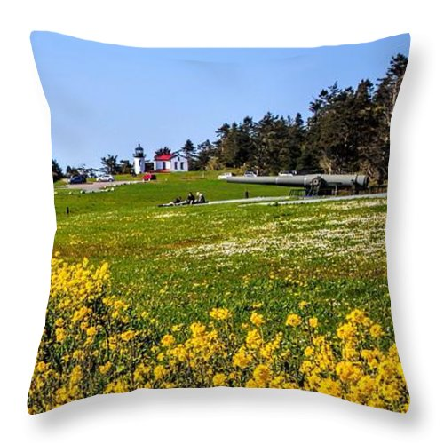 Fort Casey Throw Pillow featuring the photograph Fort Casey Spring by Rick Lawler