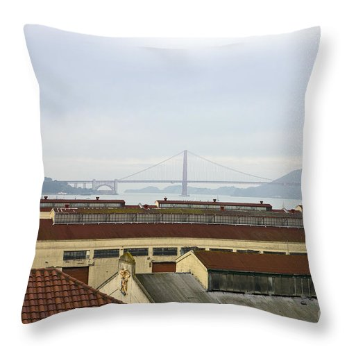 Travel Throw Pillow featuring the photograph Fort Mason And Golden Gate Bridge by Jason O Watson
