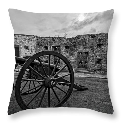 1800s Throw Pillow featuring the photograph Fort Pike Cannon by Andy Crawford