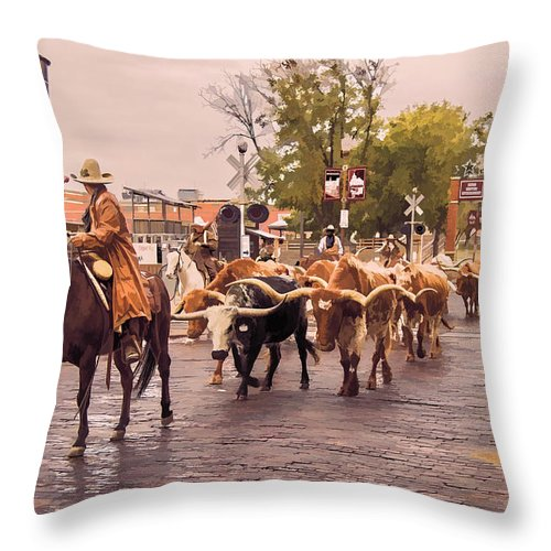 Cattle Throw Pillow featuring the photograph Fort Worth Cattle Drive by Ray Summers Photography