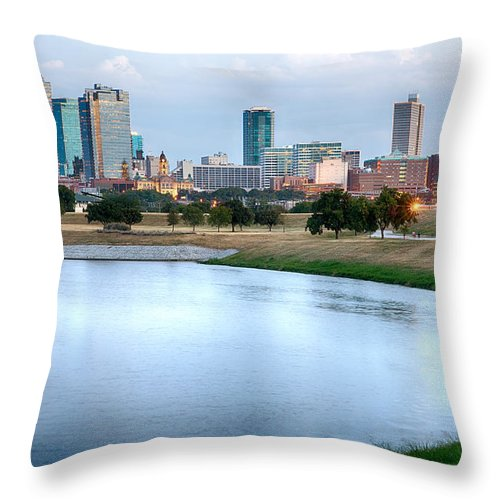 Fort Worth Throw Pillow featuring the photograph Fort Worth Skyline Aug 2014 by Rospotte Photography