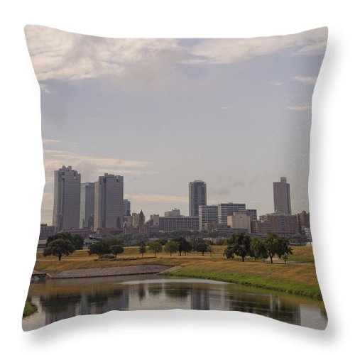 Tarrant County Throw Pillow featuring the photograph Fort Worth Skyline Partly Cloudy by Jonathan Davison
