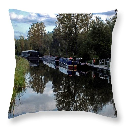 Forth Canal Throw Pillow featuring the photograph Forth Canal Reflection by John Topman