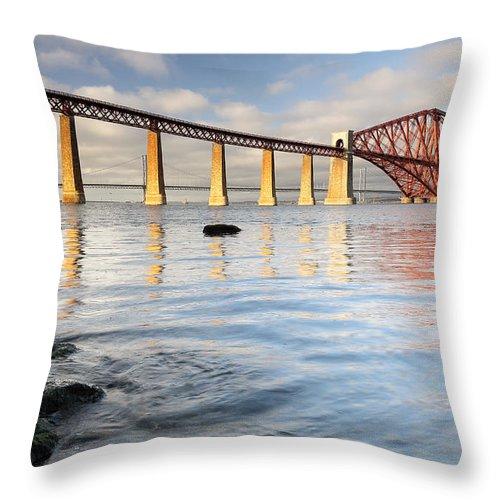 Bridges Throw Pillow featuring the photograph Forth Railway Bridge by Grant Glendinning