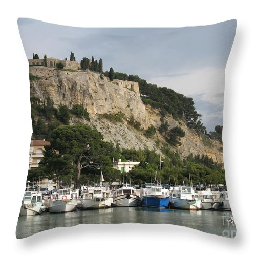 Fortress Throw Pillow featuring the photograph Fortress And Harbor Cassis by Christiane Schulze Art And Photography