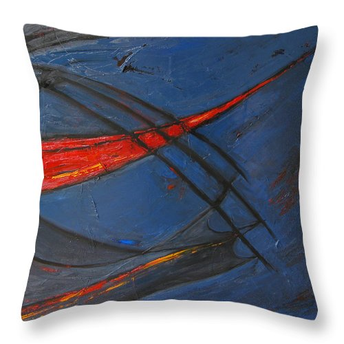 Red Throw Pillow featuring the painting Forward by Patricia Awapara