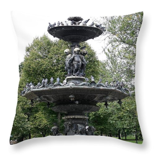 Fountain Throw Pillow featuring the photograph Fountain Boston Common by Christiane Schulze Art And Photography