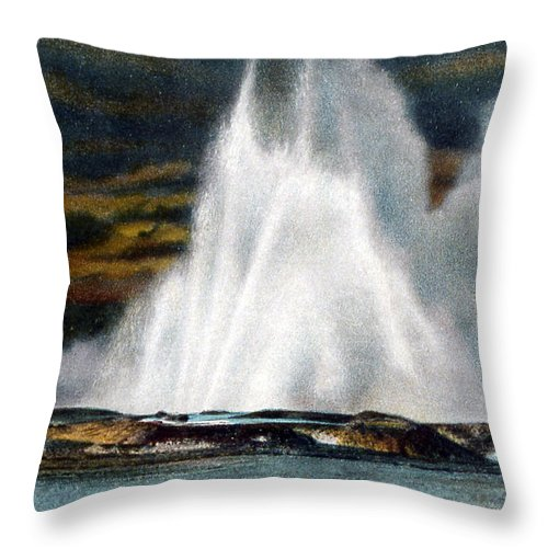 Fountain Geyser Throw Pillow featuring the photograph Fountain Geyser Yellowstone Np by NPS Photo Frank J Haynes