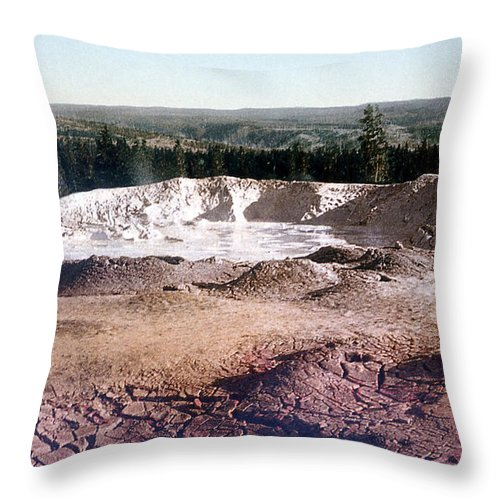 History Throw Pillow featuring the photograph Fountain Paint Pot Yellowstone National Park by NPS Photo Detroit Photographic Co
