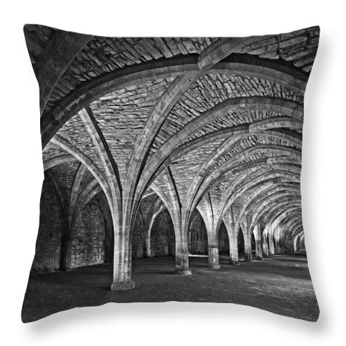 Fountains Abbey Throw Pillow featuring the photograph Fountains Abbey Cloister by John Topman