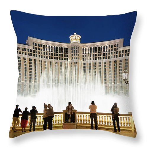 People Throw Pillow featuring the photograph Fountains Of Bellagio, Bellagio Resort by Sylvain Sonnet