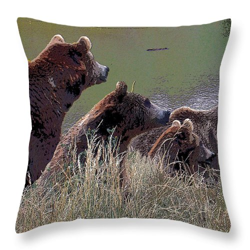 Brown Bears Throw Pillow featuring the photograph Four Bears by Michele Avanti