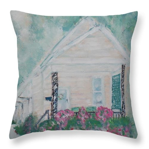 Cottage Throw Pillow featuring the painting Four Doors Mountains Of Memories by Shelley Jones