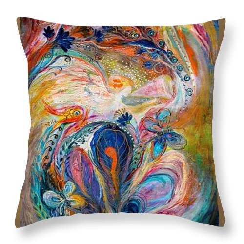 Jewish Art Prints Throw Pillow featuring the painting Four Elements Air by Elena Kotliarker
