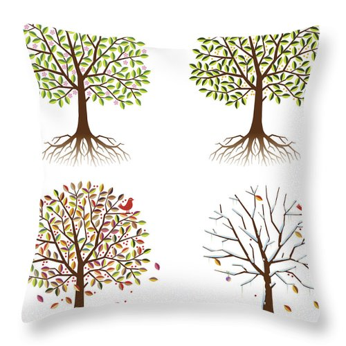 Environmental Conservation Throw Pillow featuring the digital art Four Seasons In One Tree by Johnwoodcock